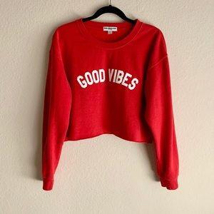 SUB_URBAN RIOT | Good Vibes Gigi Crop Sweatshirt